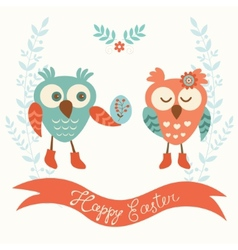 Cute owls couple vector