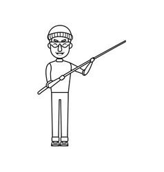 Cyber thief hacker holding fishing rod money vector
