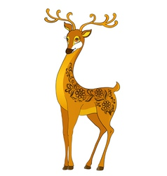 Deer cartoon with floral abstract vector