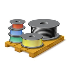 Different cables are on wooden pallet vector image