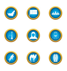 Discover west icons set flat style vector