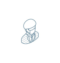 doctor in mask and uniform isometric icon 3d line vector image
