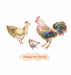 Domestic bird family hen cock and chick vector