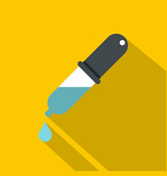 Dropper with droplet icon flat style vector