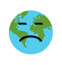 Earth globe sad emotion vector