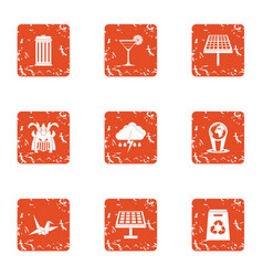 Eco business icons set grunge style vector