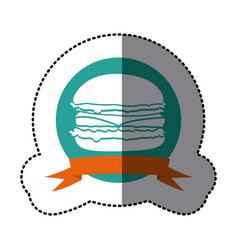 emblem hamburger fast food icon vector image vector image