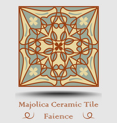 Faience pottery tile in beige olive green and red vector