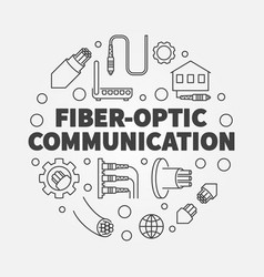 Fiber-optic communication round outline vector