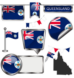 Flags queensland australia vector