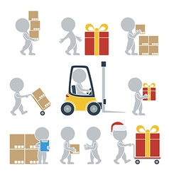 Flat people shipping vector