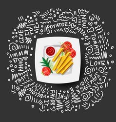 french fries icon on white plate with tomatoes vector image