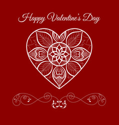 fretwork floral heart over red happy vector image