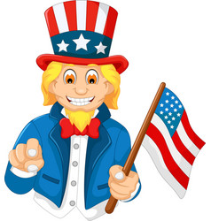 Funny american cartoon holding american flag vector