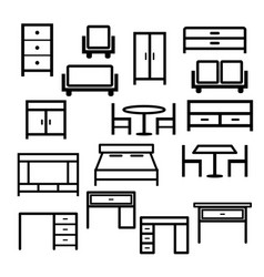 furniture icon set isolated on white bac vector image
