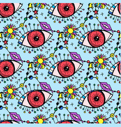 Futuristic pattern eyes lips and signs vector