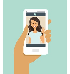 Hand holding smartphone during a video call vector