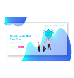 Health life or property insurance landing page vector