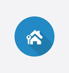 Home key Flat Blue Simple Icon with long shadow vector