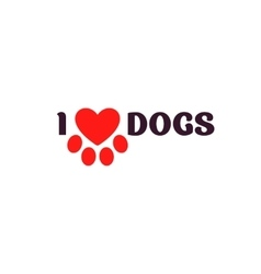 I love dogs Black lettering on a white background vector