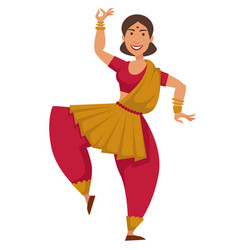 Indian woman in sari dancing traditional dance vector