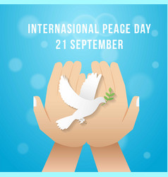 international peace day with hold hand vector image