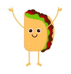 Isolated happy taco emote vector