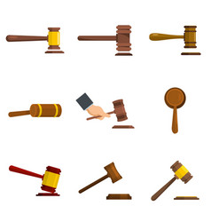 Judge hammer icons set isolated vector