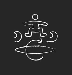 Kickflip surfing technique chalk white icon vector