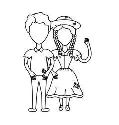 line cute brazilian couple with hat and typical vector image