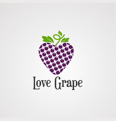 love grape logo icon element and template vector image