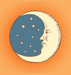 luna is a character a crescent moon in night vector image