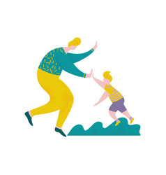 Man and boy giving high five to each other happy vector