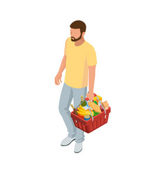 man with grocery basket cart from supermarket on vector image