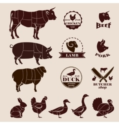 Meat cuts butcher retro emblems and labels set vector