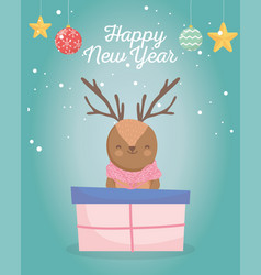 merry christmas celebration cute deer with sweater vector image