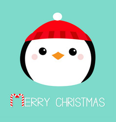 merry christmas penguin round head face icon red vector image