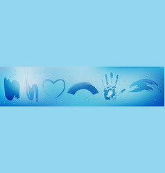 misted glass or mirror with wipe stains vector image