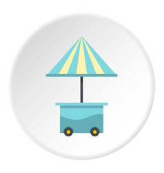 Mobile cart with blue umbrella icon circle vector