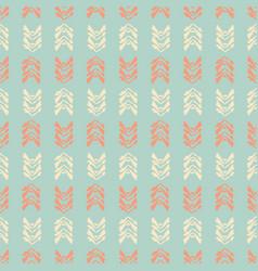 muted vintage leaf stripes teal cream and orange vector image