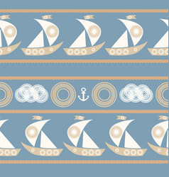 Nautical seamless pattern with sailboat vector