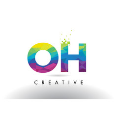oh o h colorful letter origami triangles design vector image
