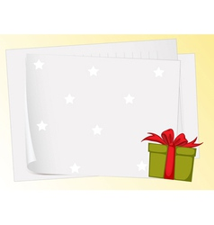 paper sheets and gift box vector image