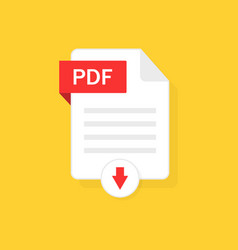 pdf download icon file with button vector image