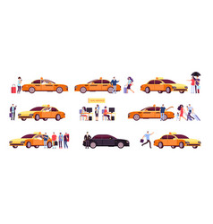 People and taxi cab drivers passenger and car in vector