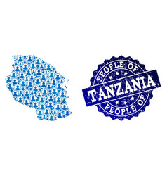 People collage of mosaic map of tanzania and vector