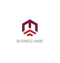 polygon line business company logo vector image