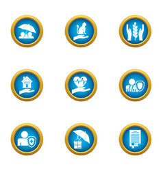 Protection insurance icons set flat style vector