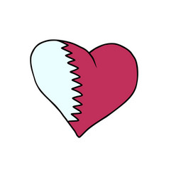 qatar isolated heart flag on white background vector image