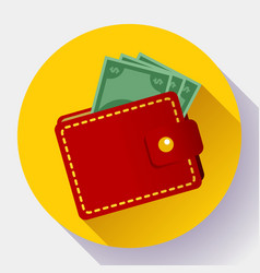 red wallet icon flat style wallet vector image